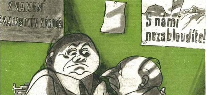 Předvolební anekdoty Dikobrazu z roku 1946